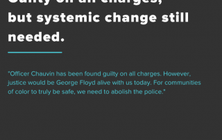 """A black background with white lettering saying """"Guilty on all charges but systemic change is still needed"""""""
