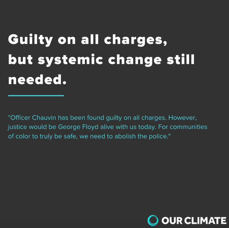 "A black background with white lettering saying ""Guilty on all charges but systemic change is still needed"""